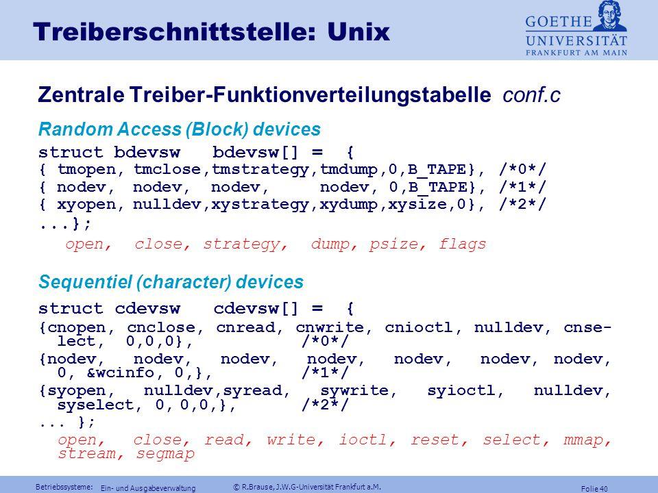 Betriebssysteme: © R.Brause, J.W.G-Universität Frankfurt a.M. Folie 39 Ein- und Ausgabeverwaltung Dateiverwaltung Energieverwaltung Gerätemodelle RAID