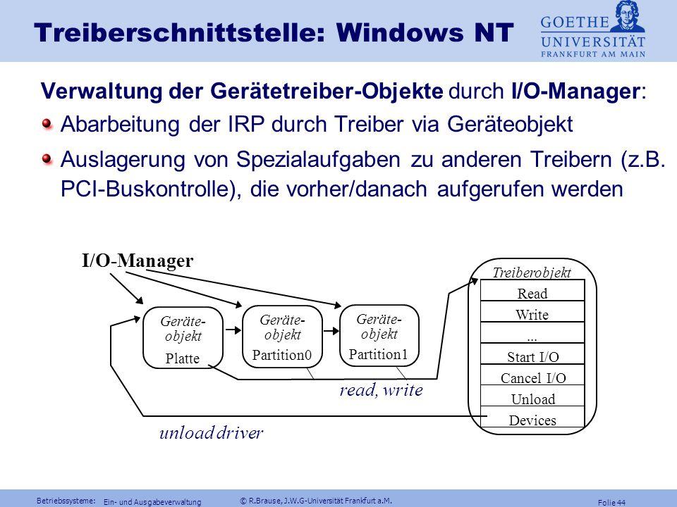 Betriebssysteme: © R.Brause, J.W.G-Universität Frankfurt a.M. Folie 43 Ein- und Ausgabeverwaltung Treiberschnittstelle: Windows NTTreiberfunktionen In