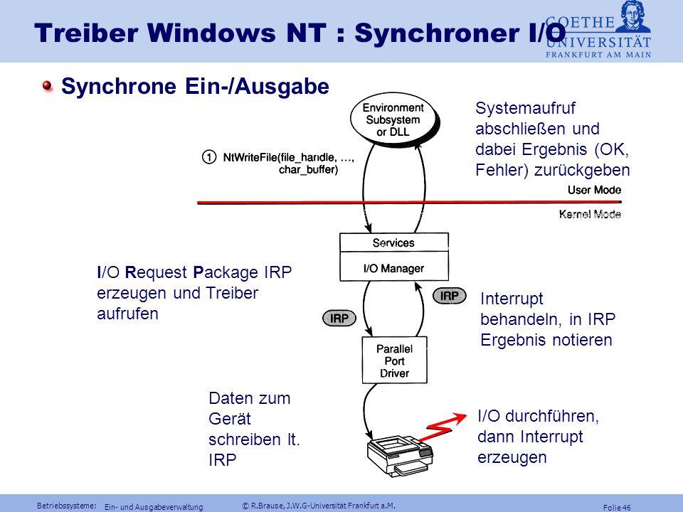Betriebssysteme: © R.Brause, J.W.G-Universität Frankfurt a.M. Folie 45 Ein- und Ausgabeverwaltung Synchrone und asynch. Ein- und Ausgabe Synchrone I/O