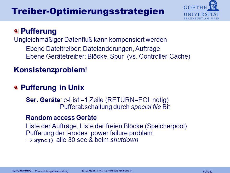 Betriebssysteme: © R.Brause, J.W.G-Universität Frankfurt a.M. Folie 51 Ein- und Ausgabeverwaltung Treiber Windows NT: Asynchroner I/O Phase 5: Datenüb