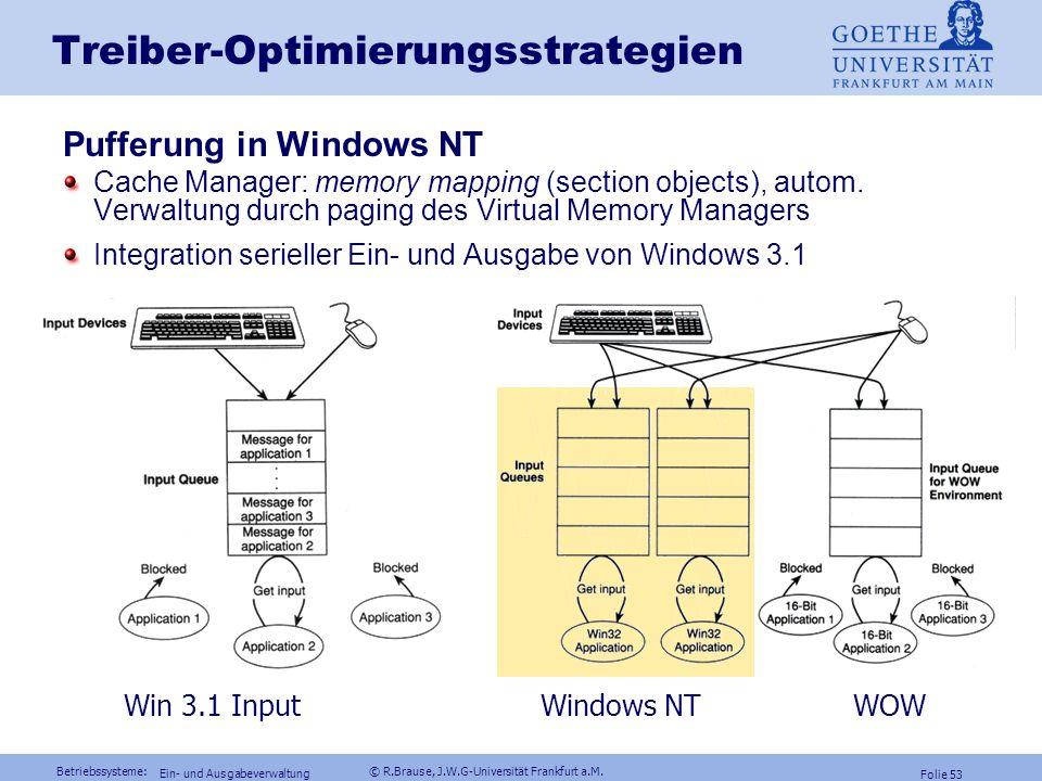 Betriebssysteme: © R.Brause, J.W.G-Universität Frankfurt a.M. Folie 52 Ein- und Ausgabeverwaltung Treiber-Optimierungsstrategien Pufferung Pufferung U