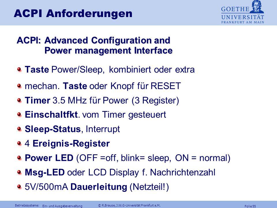 Betriebssysteme: © R.Brause, J.W.G-Universität Frankfurt a.M. Folie 54 Ein- und Ausgabeverwaltung Dateiverwaltung Energieverwaltung Gerätemodelle RAID
