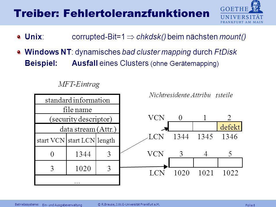 Betriebssysteme: © R.Brause, J.W.G-Universität Frankfurt a.M. Folie 7 Ein- und Ausgabeverwaltung Ein-/Ausgabeschichten: Windows NT Dynam. Schichtung d