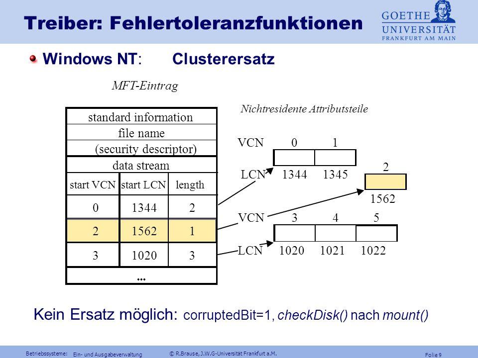 Betriebssysteme: © R.Brause, J.W.G-Universität Frankfurt a.M. Folie 8 Ein- und Ausgabeverwaltung Treiber: Fehlertoleranzfunktionen Unix: corrupted-Bit