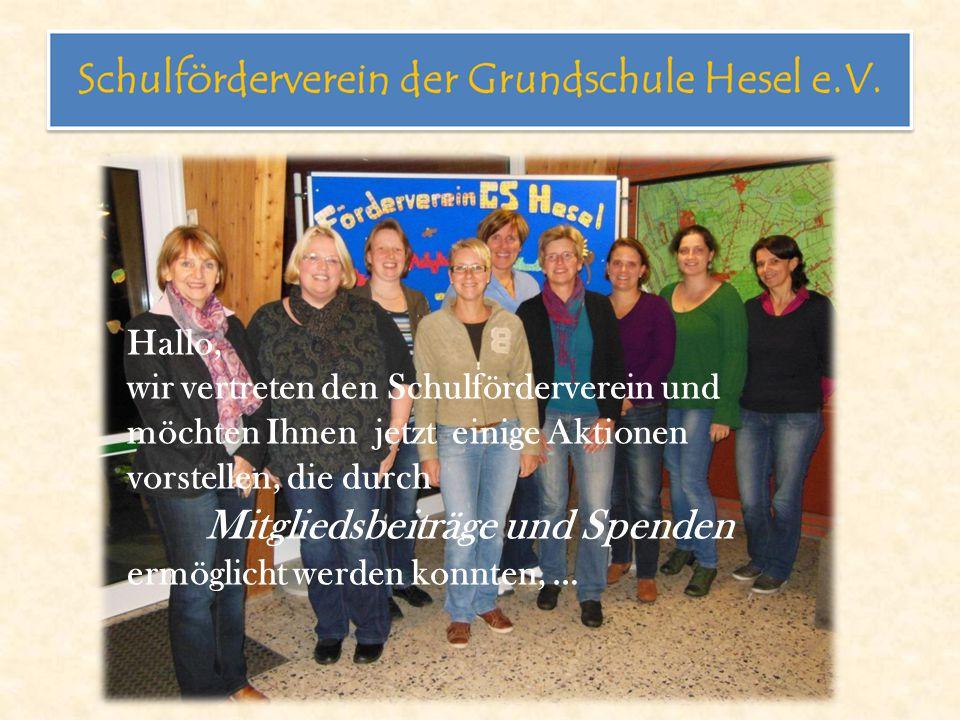 Hallo, wir vertreten den Schulförderverein und möchten Ihnen jetzt einige Aktionen vorstellen, die durch Mitgliedsbeiträge und Spenden ermöglicht werden konnten, …