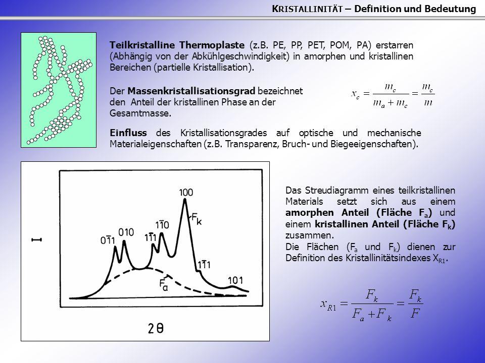 K RISTALLINITÄT – Definition und Bedeutung Das Streudiagramm eines teilkristallinen Materials setzt sich aus einem amorphen Anteil (Fläche F a ) und e
