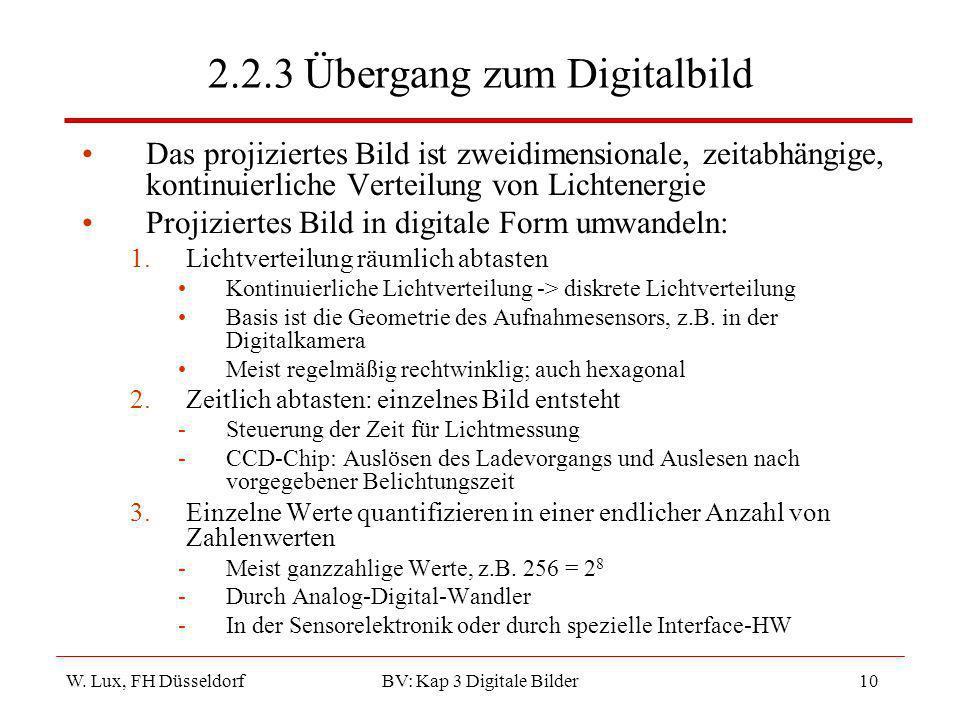 W. Lux, FH Düsseldorf BV: Kap 3 Digitale Bilder10 2.2.3 Übergang zum Digitalbild Das projiziertes Bild ist zweidimensionale, zeitabhängige, kontinuier