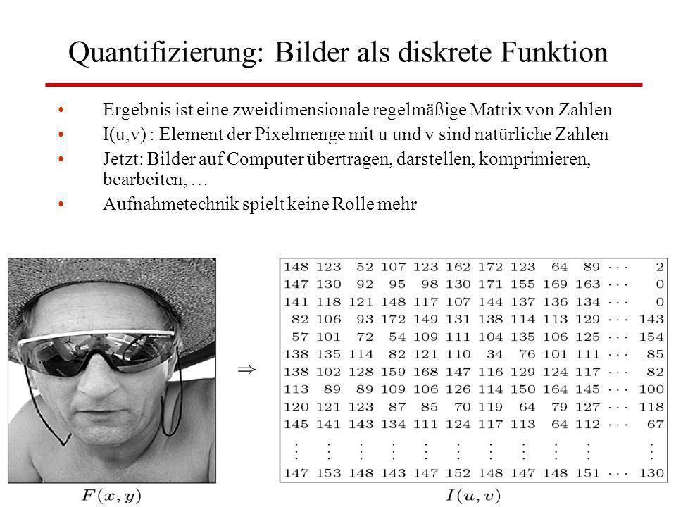 W. Lux, FH Düsseldorf BV: Kap 3 Digitale Bilder14 Quantifizierung: Bilder als diskrete Funktion Ergebnis ist eine zweidimensionale regelmäßige Matrix
