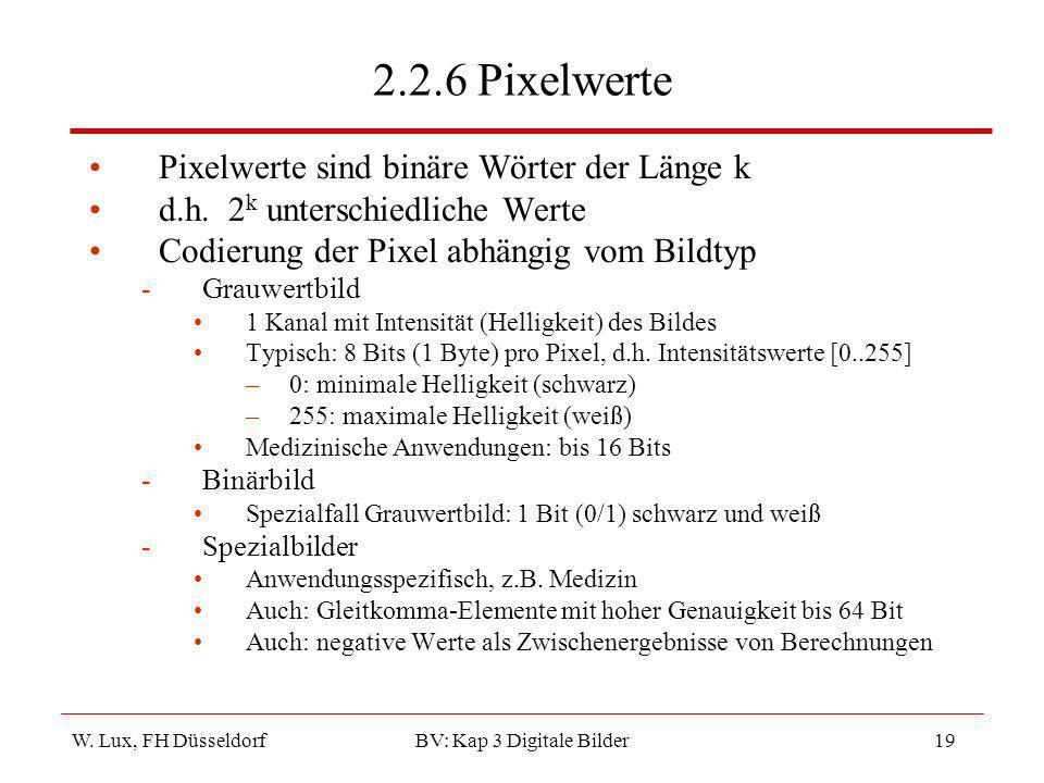 W. Lux, FH Düsseldorf BV: Kap 3 Digitale Bilder19 2.2.6 Pixelwerte Pixelwerte sind binäre Wörter der Länge k d.h. 2 k unterschiedliche Werte Codierung