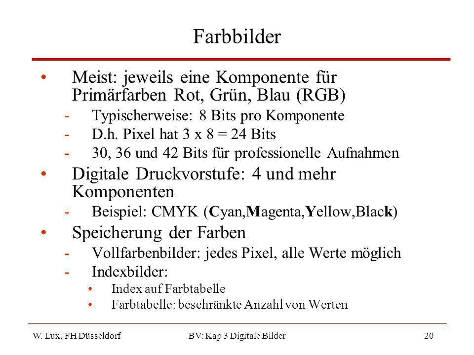 W. Lux, FH Düsseldorf BV: Kap 3 Digitale Bilder20 Farbbilder Meist: jeweils eine Komponente für Primärfarben Rot, Grün, Blau (RGB) -Typischerweise: 8