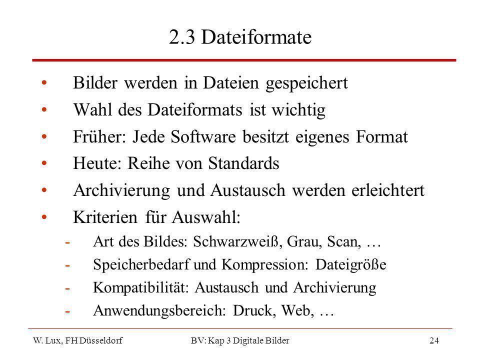 W. Lux, FH Düsseldorf BV: Kap 3 Digitale Bilder24 2.3 Dateiformate Bilder werden in Dateien gespeichert Wahl des Dateiformats ist wichtig Früher: Jede
