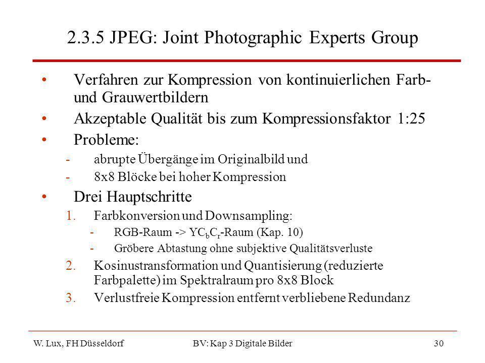 W. Lux, FH Düsseldorf BV: Kap 3 Digitale Bilder30 2.3.5 JPEG: Joint Photographic Experts Group Verfahren zur Kompression von kontinuierlichen Farb- un