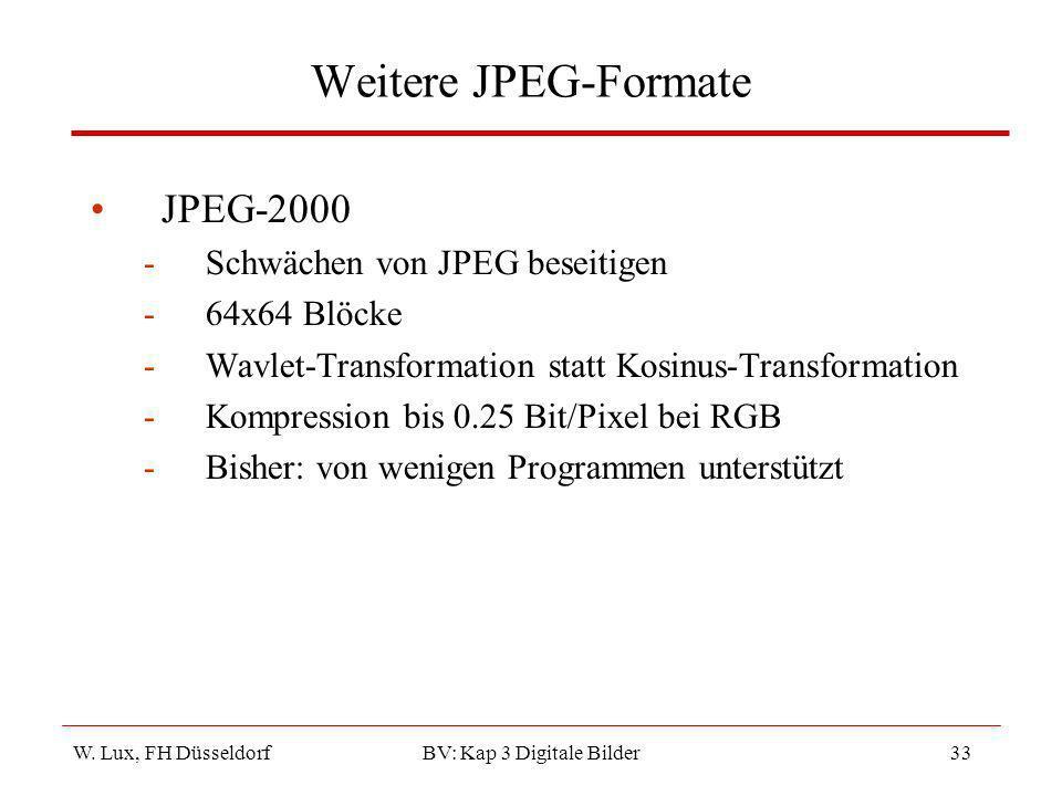 W. Lux, FH Düsseldorf BV: Kap 3 Digitale Bilder33 Weitere JPEG-Formate JPEG-2000 -Schwächen von JPEG beseitigen -64x64 Blöcke -Wavlet-Transformation s