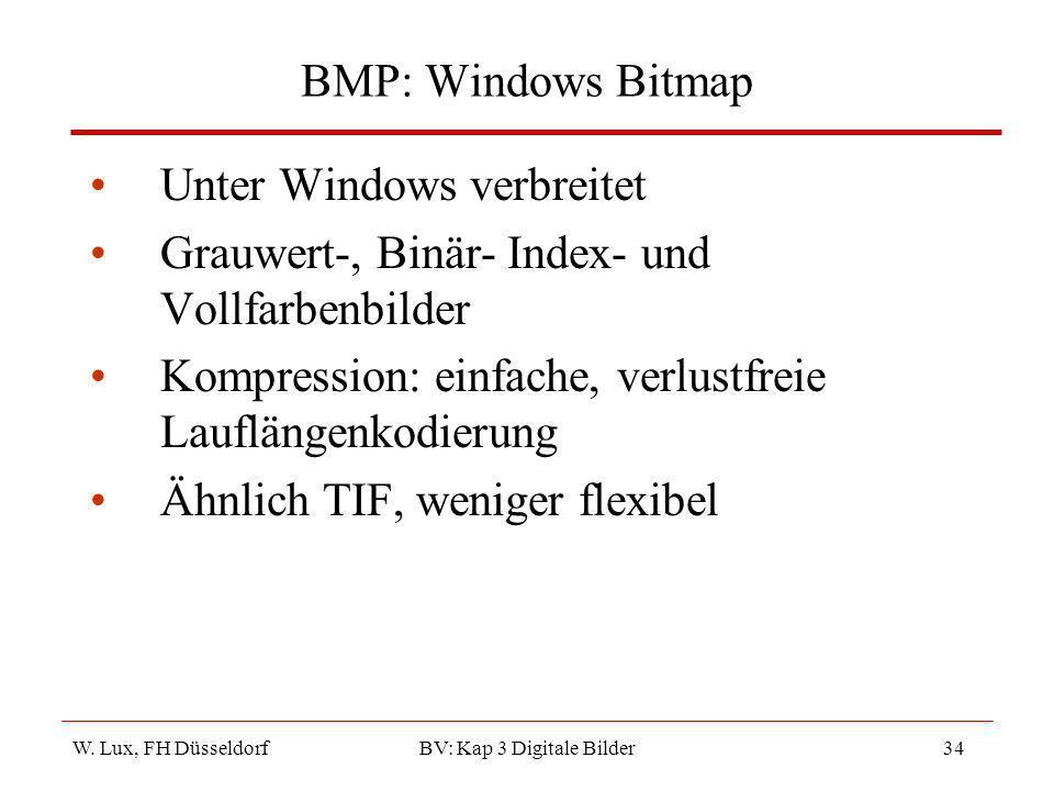 W. Lux, FH Düsseldorf BV: Kap 3 Digitale Bilder34 BMP: Windows Bitmap Unter Windows verbreitet Grauwert-, Binär- Index- und Vollfarbenbilder Kompressi