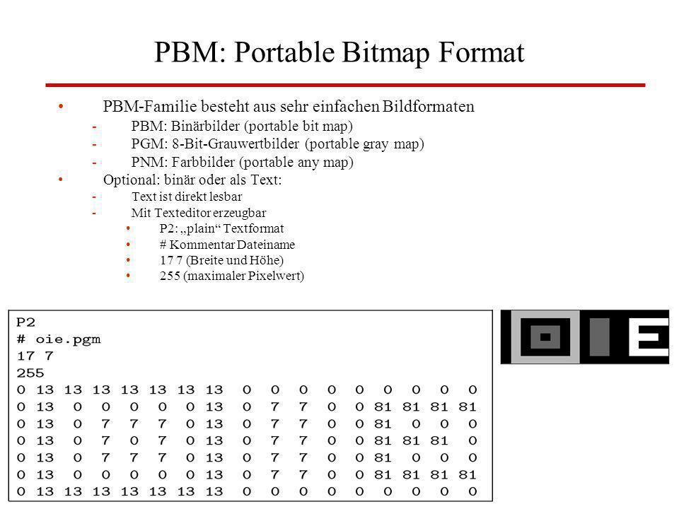 W. Lux, FH Düsseldorf BV: Kap 3 Digitale Bilder35 PBM: Portable Bitmap Format PBM-Familie besteht aus sehr einfachen Bildformaten -PBM: Binärbilder (p