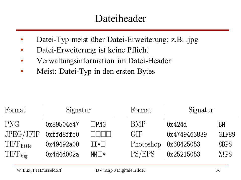 W. Lux, FH Düsseldorf BV: Kap 3 Digitale Bilder36 Dateiheader Datei-Typ meist über Datei-Erweiterung: z.B..jpg Datei-Erweiterung ist keine Pflicht Ver