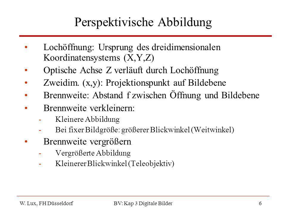 W. Lux, FH Düsseldorf BV: Kap 3 Digitale Bilder6 Perspektivische Abbildung Lochöffnung: Ursprung des dreidimensionalen Koordinatensystems (X,Y,Z) Opti