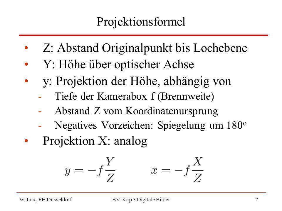 W. Lux, FH Düsseldorf BV: Kap 3 Digitale Bilder7 Projektionsformel Z: Abstand Originalpunkt bis Lochebene Y: Höhe über optischer Achse y: Projektion d