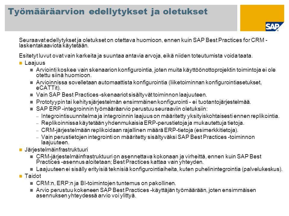 Työmääräarvion edellytykset ja oletukset Seuraavat edellytykset ja oletukset on otettava huomioon, ennen kuin SAP Best Practices for CRM - laskentakaaviota käytetään.