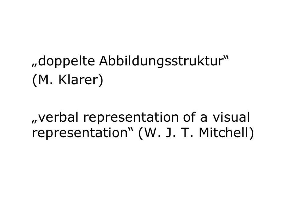 """doppelte Abbildungsstruktur"" (M. Klarer) ""verbal representation of a visual representation"" (W. J. T. Mitchell)"