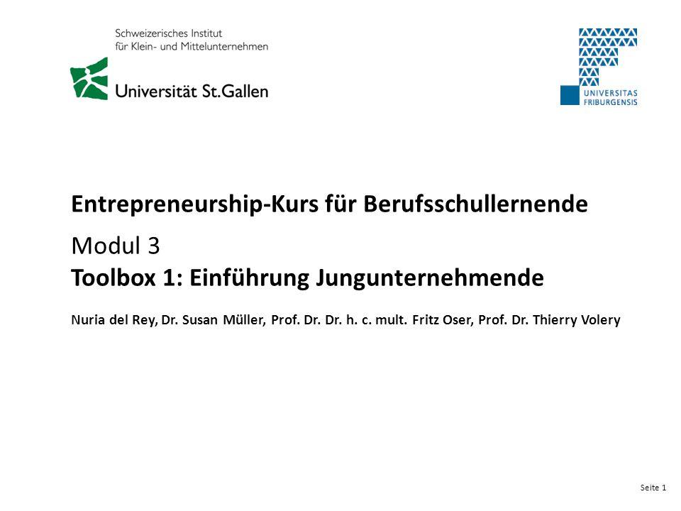 Seite 1 Entrepreneurship-Kurs für Berufsschullernende Modul 3 Toolbox 1: Einführung Jungunternehmende Nuria del Rey, Dr. Susan Müller, Prof. Dr. Dr. h