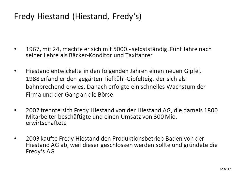Seite 17 Fredy Hiestand (Hiestand, Fredy's) 1967, mit 24, machte er sich mit 5000.- selbstständig. Fünf Jahre nach seiner Lehre als Bäcker-Konditor un