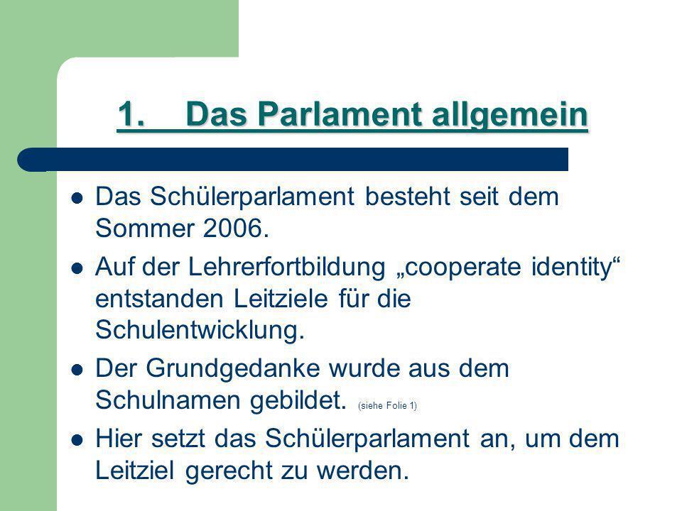 1.Das Parlament allgemein Das Schülerparlament besteht seit dem Sommer 2006.