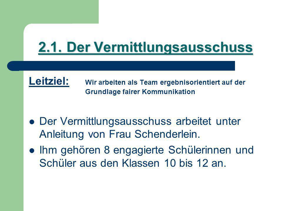 2.1.Der Vermittlungsausschuss Leitziel: Wir arbeiten als Team ergebnisorientiert auf der Grundlage fairer Kommunikation Der Vermittlungsausschuss arbeitet unter Anleitung von Frau Schenderlein.