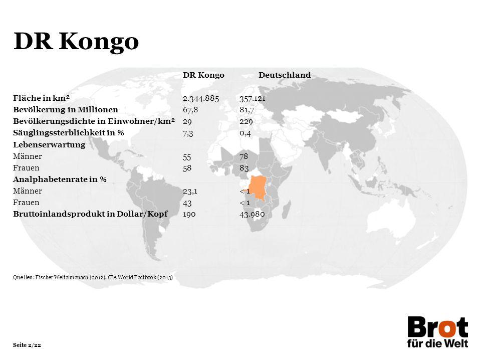 Seite 2/22 DR Kongo DR KongoDeutschland Fläche in km²2.344.885357.121 Bevölkerung in Millionen 67,881,7 Bevölkerungsdichte in Einwohner/km²29229 Säuglingssterblichkeit in %7,30,4 Lebenserwartung Männer5578 Frauen5883 Analphabetenrate in % Männer23,1< 1 Frauen43< 1 Bruttoinlandsprodukt in Dollar/Kopf19043.980 Quellen: Fischer Weltalmanach (2012), CIA World Factbook (2013)