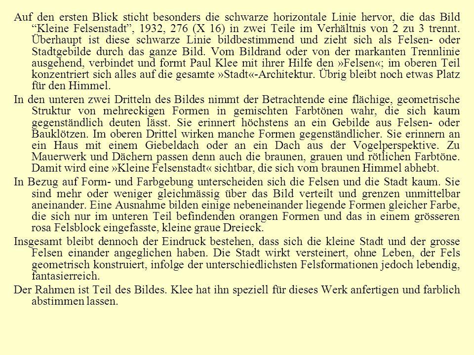 """Auf den ersten Blick sticht besonders die schwarze horizontale Linie hervor, die das Bild """"Kleine Felsenstadt"""", 1932, 276 (X 16) in zwei Teile im Verh"""