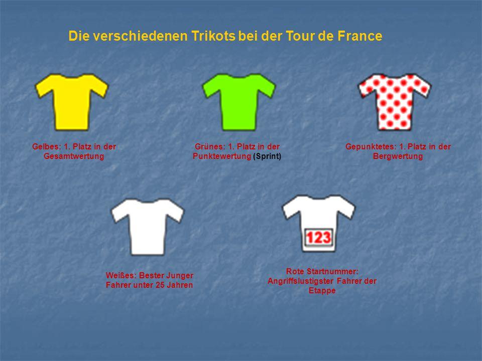 Die verschiedenen Trikots bei der Tour de France Gelbes: 1. Platz in der Gesamtwertung Grünes: 1. Platz in der Punktewertung (Sprint) Gepunktetes: 1.