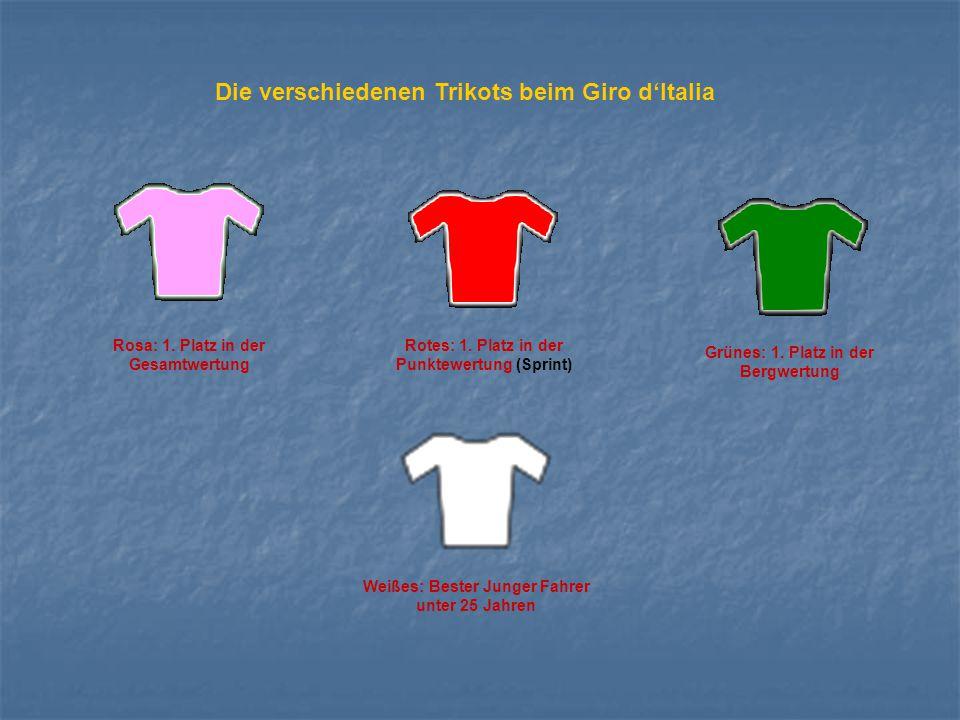 Die verschiedenen Trikots beim Giro d'Italia Rosa: 1. Platz in der Gesamtwertung Rotes: 1. Platz in der Punktewertung (Sprint) Grünes: 1. Platz in der