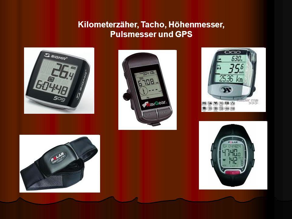 Kilometerzäher, Tacho, Höhenmesser, Pulsmesser und GPS