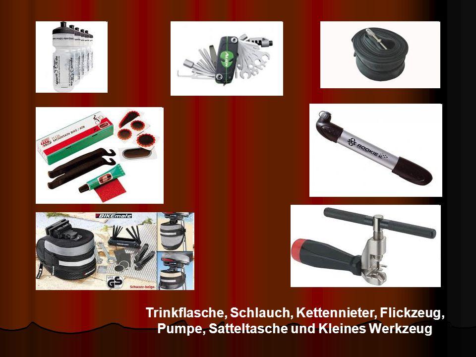 Trinkflasche, Schlauch, Kettennieter, Flickzeug, Pumpe, Satteltasche und Kleines Werkzeug