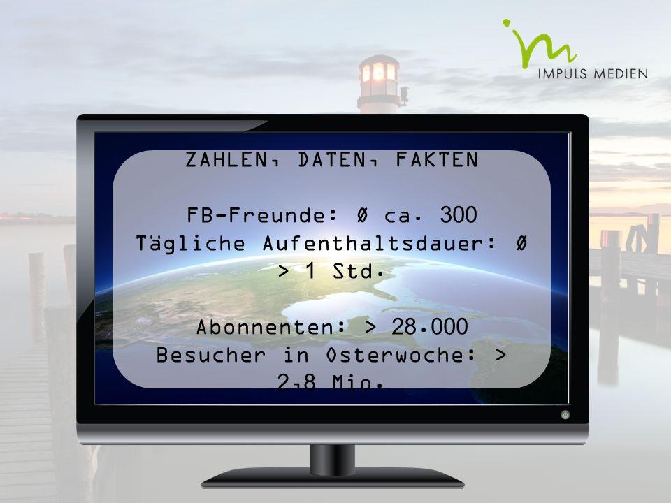 ZAHLEN, DATEN, FAKTEN FB-Freunde: Ø ca. 300 Tägliche Aufenthaltsdauer: Ø > 1 Std.