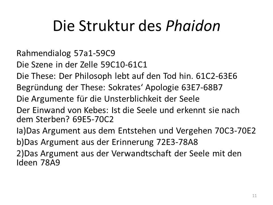 Die Struktur des Phaidon Rahmendialog 57a1-59C9 Die Szene in der Zelle 59C10-61C1 Die These: Der Philosoph lebt auf den Tod hin. 61C2-63E6 Begründung