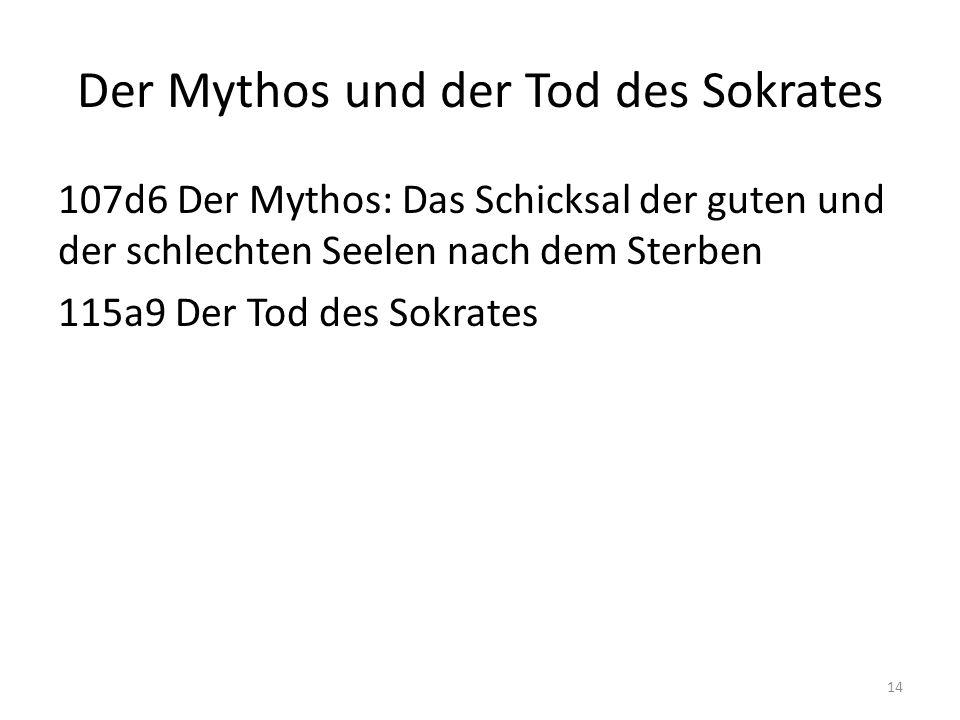 Der Mythos und der Tod des Sokrates 107d6 Der Mythos: Das Schicksal der guten und der schlechten Seelen nach dem Sterben 115a9 Der Tod des Sokrates 14