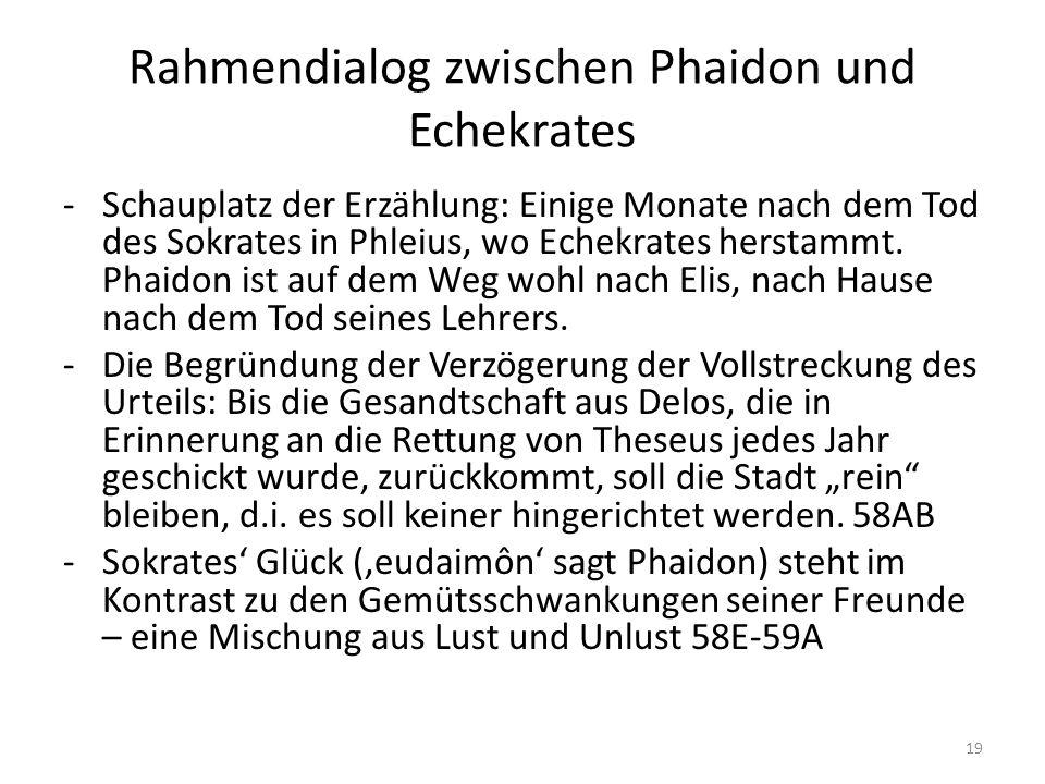 Rahmendialog zwischen Phaidon und Echekrates -Schauplatz der Erzählung: Einige Monate nach dem Tod des Sokrates in Phleius, wo Echekrates herstammt.