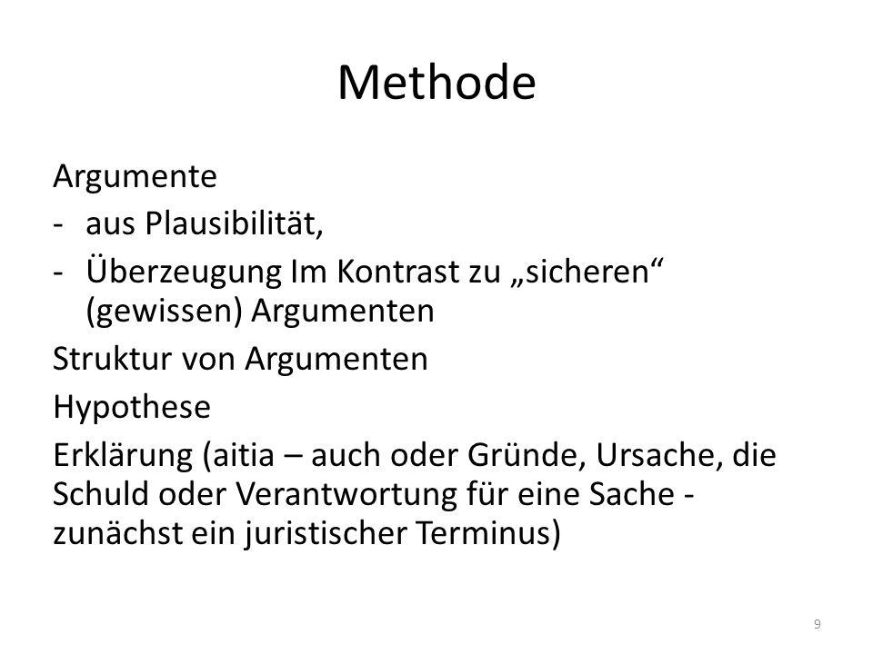 """Methode Argumente -aus Plausibilität, -Überzeugung Im Kontrast zu """"sicheren"""" (gewissen) Argumenten Struktur von Argumenten Hypothese Erklärung (aitia"""