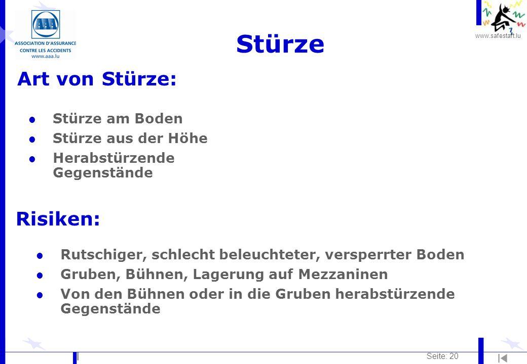 www.safestart.lu Seite: 20 Stürze Art von Stürze: Risiken: l Stürze am Boden l Stürze aus der Höhe l Herabstürzende Gegenstände l Rutschiger, schlecht