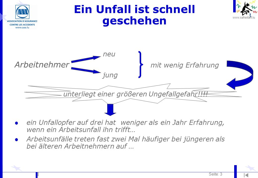 www.safestart.lu Seite: 34 1.Zuerst nachdenken und dann handeln 2.Die natürliche Krümmung der Wirbelsäule wahren 3.Die Knie beugen(max.