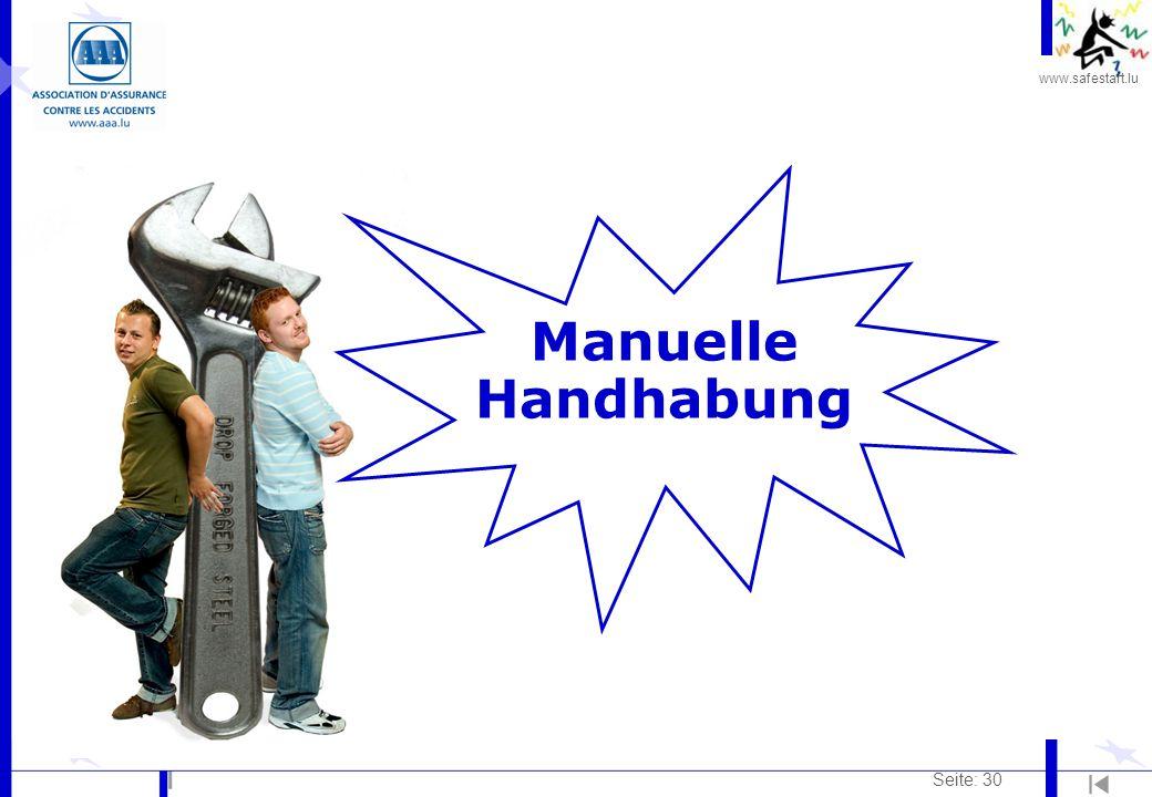 www.safestart.lu Seite: 30 Manuelle Handhabung