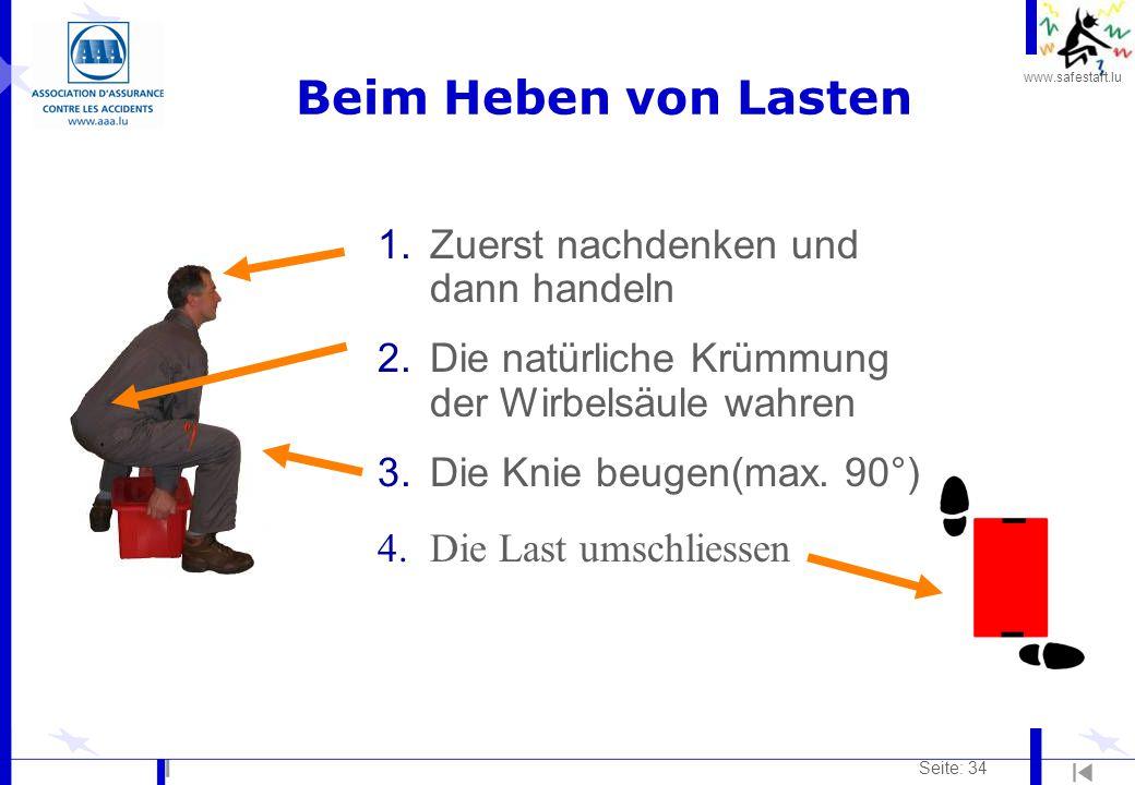 www.safestart.lu Seite: 34 1.Zuerst nachdenken und dann handeln 2.Die natürliche Krümmung der Wirbelsäule wahren 3.Die Knie beugen(max. 90°) 4.Die Las