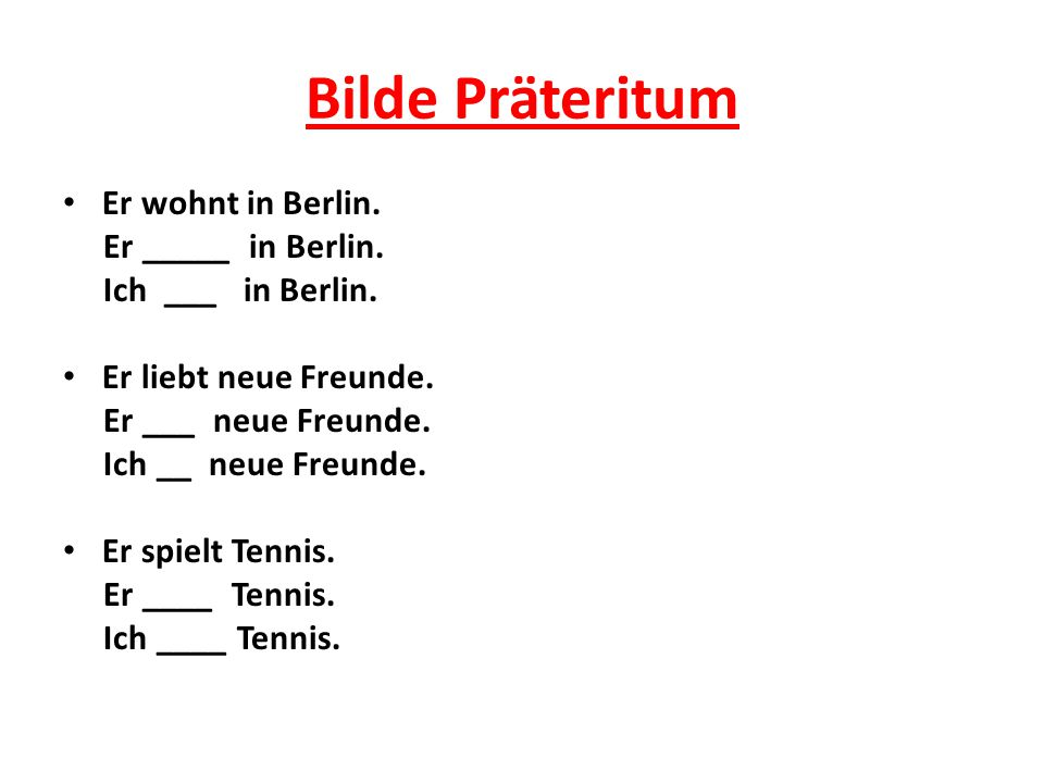 Bilde Präteritum Er wohnt in Berlin.Er _____ in Berlin.