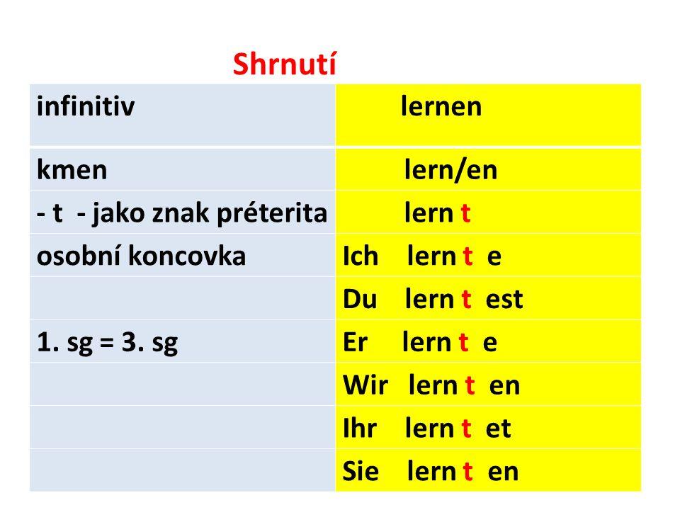 Shrnutí infinitiv lernen kmen lern/en - t - jako znak préterita lern t osobní koncovkaIch lern t e Du lern t est 1.