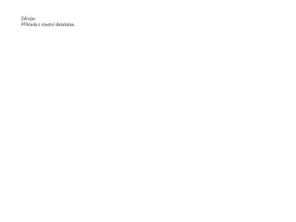 Zdroje: Příklady z vlastní databáze.