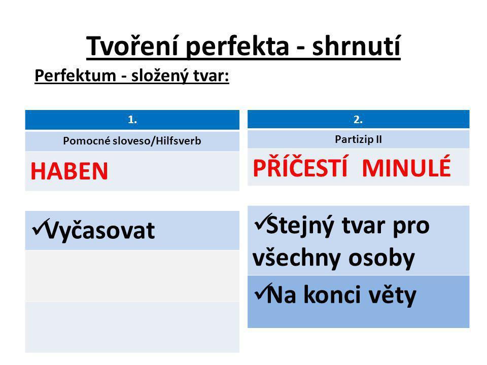 Pomocné sloveso Haben většina sloves!!! Sein slovesa pohybová změna stavu nemají předmět ve 4. pádě