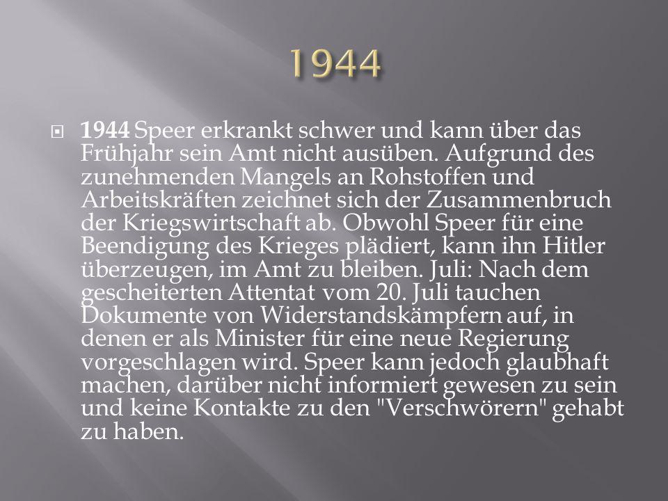  1944 Speer erkrankt schwer und kann über das Frühjahr sein Amt nicht ausüben. Aufgrund des zunehmenden Mangels an Rohstoffen und Arbeitskräften zeic