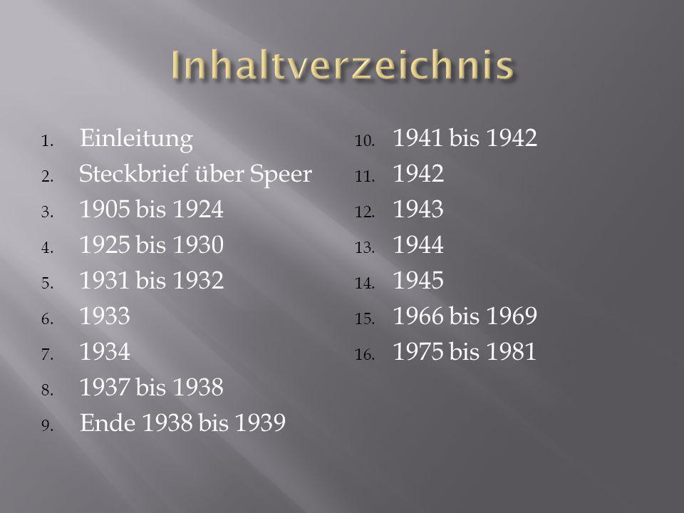 1. Einleitung 2. Steckbrief über Speer 3. 1905 bis 1924 4. 1925 bis 1930 5. 1931 bis 1932 6. 1933 7. 1934 8. 1937 bis 1938 9. Ende 1938 bis 1939 10. 1