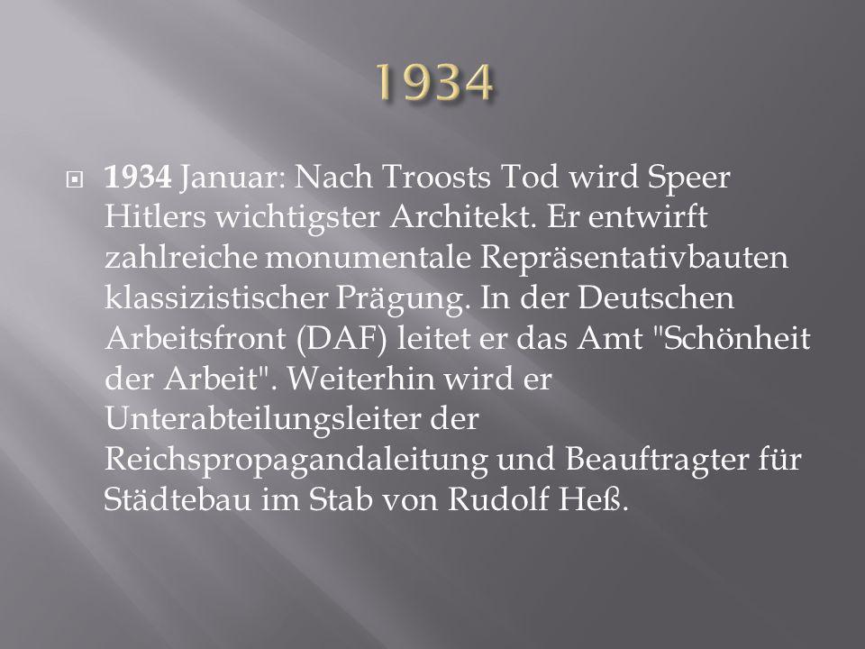  1934 Januar: Nach Troosts Tod wird Speer Hitlers wichtigster Architekt. Er entwirft zahlreiche monumentale Repräsentativbauten klassizistischer Präg